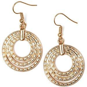 Layered Gold Ring Dangle Earrings